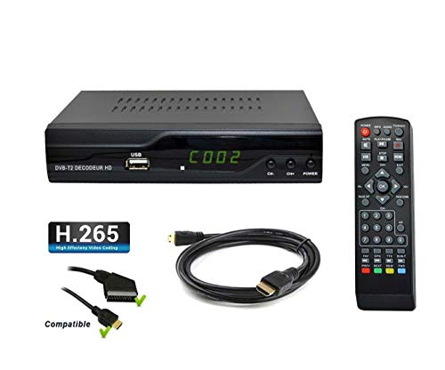 Receptor HD terrestre Tempo 4000 H.265 HEVC, DVB-T2, Compatible para Canales...