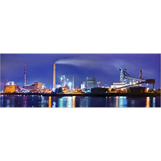 Poster 180 x 60 cm: ArcelorMittal steel mill Bremen by Tanja Arnold Photography art print, new art poster