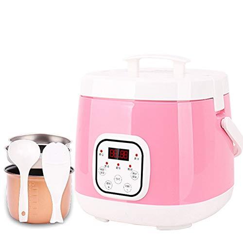 Multifunktions Antihaft-Pfanne Reiskocher Für 1-3 Personen, Mit Warmhaltfunktion, 10-Stunden-Preset, 2L, 400W,Pink