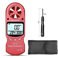 NKTECH Anemómetro digital NK-W0 3 en 1 Mini LCD portátil con medidor de temperatura del viento y humedad con higrómetro multiusos para windsurf, kite volando surf, rosso