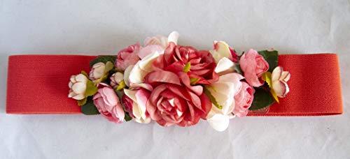 Cinturón elástico coral con adorno de flores. Envío GRATIS