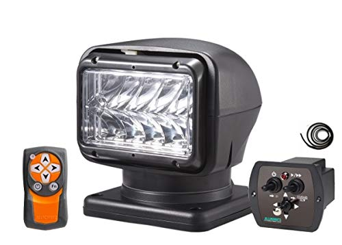 Saarwebstore LED Suchscheinwerfer 12-24 V 1200m Reichweite kabellose Fernbedienung und Joystick mit Kabel Arbeitscheinwerfer Deckscheinwerfer Farbe Schwarz