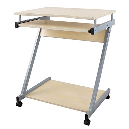 Songmics Computer Desk Z Shaped PC Table Movable Portable Trolley Study  Workstation With Sliding Keyboard 4 Wheels 60 X 48 X 73 Cm Natural LCD811N