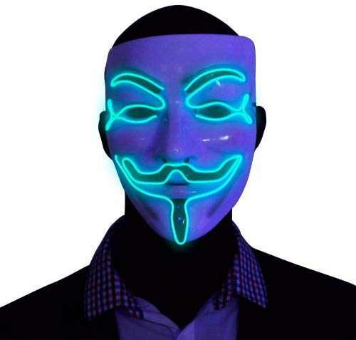 EL Wire LED Mask , Guy Fawkes Anonymous Mask, glow in the dark light up halloween mask ()