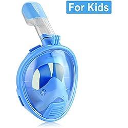 HiCool Masque de Plongée pour Enfant Couvert Toute la Face 180° Visible avec Support de Montage pour GoPro Xiaomi Yi Sport Caméra d'Action (Bleu)