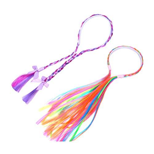 erücke Regenbogen Perücke Kopfbedeckung mit Bowknot für Kind Kind Mädchen Kleinkinder Teens 2St ()