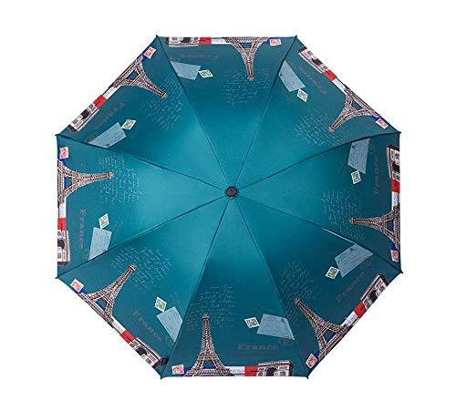 Y-S Kompaktes Tragbares Regenschirm Ms Wasserdichtes Falten Anti-Uv Kleine Frische Sonnige Regen Dual Use Schwarz Kleber Sonnenschirm, Regenschirm, a