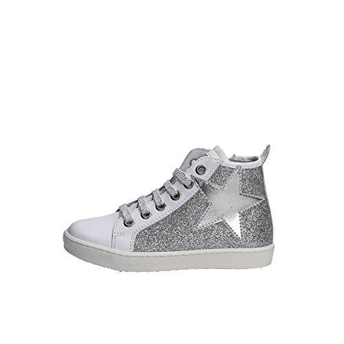 CIAO BIMBI - Sneaker à lacets blanche et argent, en cuir et glitter, soignée dans tous ses détails et capable de combiner style, Fille, Filles