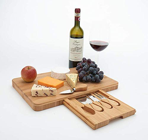 Square bamboo cheese board set