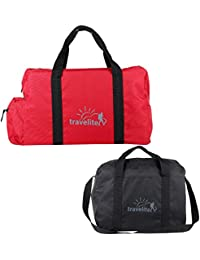 Ultralite Polyster Black & Red Duffle Bag Combo Pack Of 2 - (55 L)