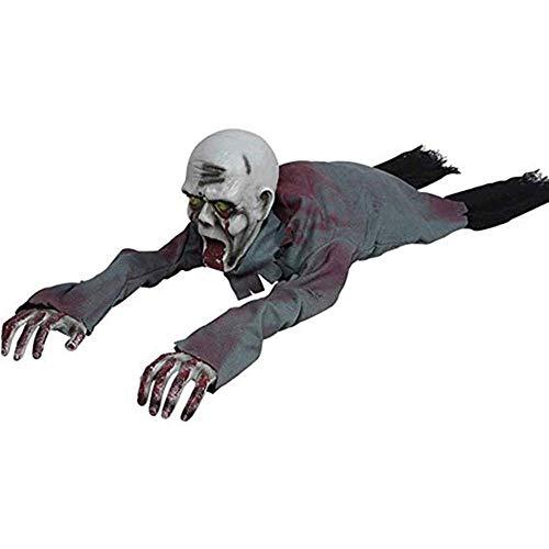 Humorvolle Maske Maskerade Prom Maske Halloween Krabbeln Zombie Requisiten 110CM / 36Inch Scary Haunted House With Creepy Scream Glowing Eyes Batteriebetriebener Bewegungssensor Lichtsteuerung Hallowe