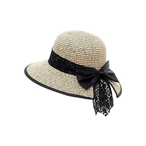 iShine Women Straw Sun Hat Folding Sun Protection Floppy Beach Hat with Bowknot