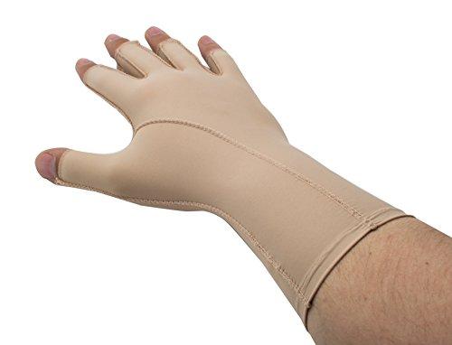 EDEMA Medium | 3/4 Finger | Ödem Handschuh | verschiedene Größen | 2 Farben | Kompressionshandschuh | Top Qualität (XX-Small, beige)