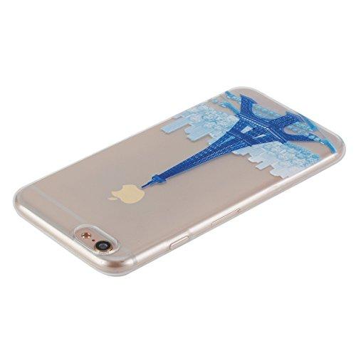 Apple iPhone 6 Plus Hülle,iPhone 6S Plus Transparent Crystal Klar Case,Ekakashop Ultra Dünn Slim Modisch Durchsichtig I Believe I Can Fly Muster Weiche Silikon TPU Flexible Gel Case Crystal Defender P Blauer Turm