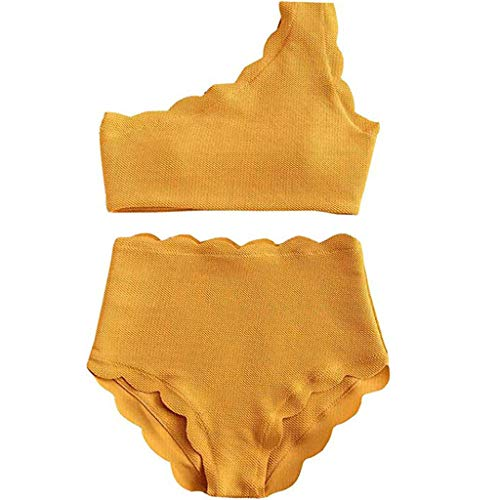 MRENVWS Lady Vintage High Waisted Swimsuit Two Pieces Scalloped Trim One Shoulder Bikini -