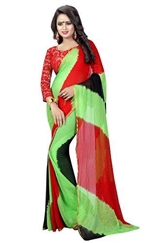 J B Fashion Chiffon Saree With Blouse Piece(H-Saree For Women-Leriya Green Chiffon_Dark...