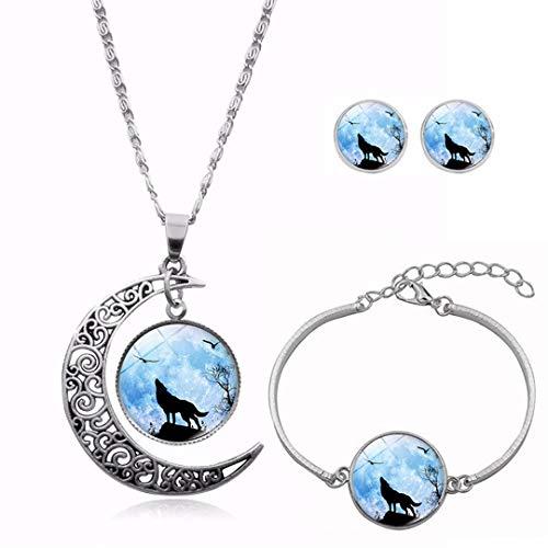 tem Schmucksets für Frauen, Tierauge Anhänger Halskette Armband Ohrstecker, Geburtstagsgeschenk für Mädchen,D ()