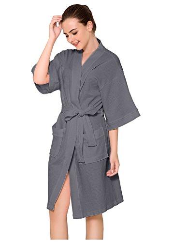 Spa Robe (ZAKASA Womens Baumwolle Robe Waffel Kimono Roben Hotel Spa Bademantel Loungewear Nachtwäsche kurz)