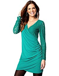Ladies Green Lace Wrap Over Dress for Women Sizes 10 - 14
