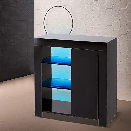 EBTOOLS Sideboard, Standschrank Wohnzimmerschränke Küchenschrank mit RGBW LED Beleuchtung, 1 großes Fach und 3-stufiges Regal,75 x 35 x 83 cm(Schwarz)