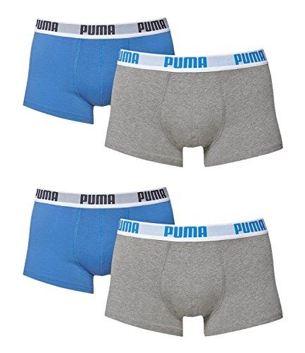 PUMA Herren Boxershorts Unterhosen 521025001 4er Pack grau/blau/grau/blau