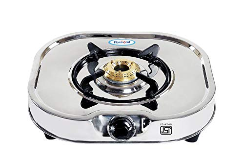 Flamingold Glen 1 Burner Steel Gas Stove ISI Standard Single Chulha Heavy Duty Rust Proof Body Brass Burner
