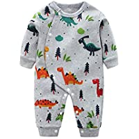 uBabamama Cartoon Dinosaur Printed Jumpsuit for 0-4 Years Newborn Infant Baby Long Sleeve Romper Pajamas Playsuit Clothes(Gray,6-12 Months/80)
