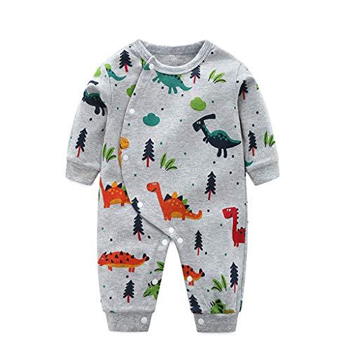 TTLOVE Strampler Bodysuit Neugeborene Baby Jungen,Dinosaurier Druck Spieler Spielanzug Overall Kleidung Outfits mit Langarmshirt,Herbst Schlafanzug Babykleidung(Grau,80)