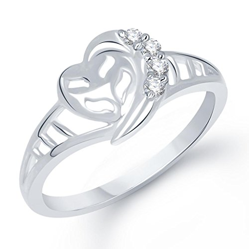 VK Jewels Entangled Heart Rhodium Plated Ring – FR1220R [VKFR1220R]