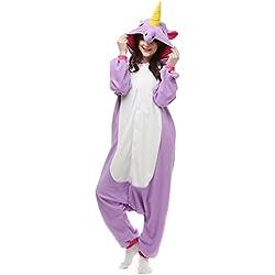 Casa Adulto Animal Licorne Pijamas Con Capucha Kigurumi Unisexo la Ropa de noche del Traje del Anime de Cosplay Disfraz Homewear Lounge Sleepwear del Onesie Morado Unicornio M
