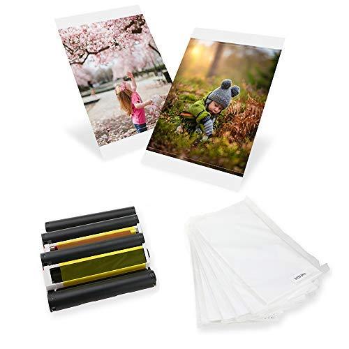 Kompatibel Selphy KP-108IN Fotopapier, 100 x 148mm Postkartengröße für Selphy CP Fotodrucker Serie CP1200 CP1300 CP1000 CP910 CP810 CP800 (3 Druckerkartusche, 108 Blatt Papier)