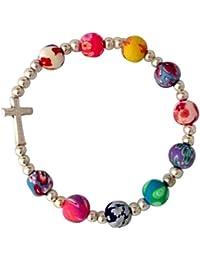 Armband mit Kreuz, bunte Perlen