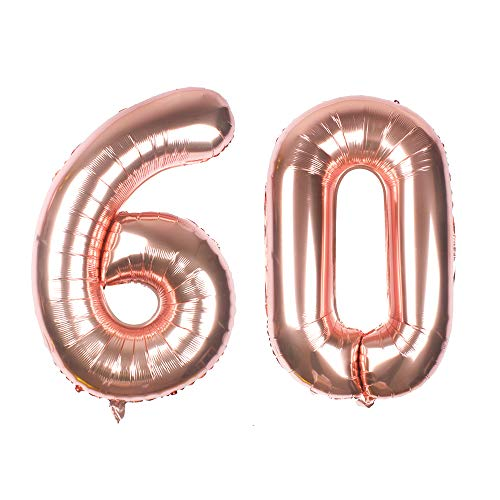 Globo gigante de oro rosa con número 60 de 40 pulgadas, globos de helio con número de aluminio Mylar para decoración de 60 cumpleaños, suministros de eventos antinciparios, flotante en helio
