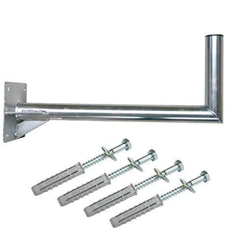 PremiumX 60cm Wandhalter Stahl verzinkt SAT Antenne Wandhalterung Wand Montage Halter Wandabstand 60 cm mit Verstrebung + Fischer Schraubensatz für Wand Montage
