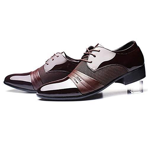 Lcjtaifu Klassische Geschäft-Schuhe Herren Geschäft Oxford Herren Schuhe Soft Breathable Herren Formelle Schuhe Spitz PU Leder Oxford Schuhe (Color : Red, Size : M) -