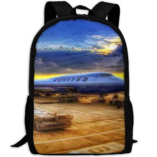 HOJJP Schultasche Airport Print Laptop Backpack School Bag Shoulder Bag Travel Daypack Handbag