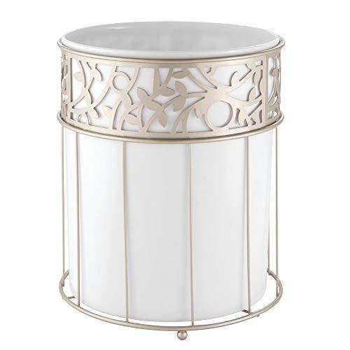 mDesign Mülleimer Bad, weiß - Material: Stahl mit Kunststoffeinsatz - hochwertiger Papierkorb Büro - Design Abfalleimer