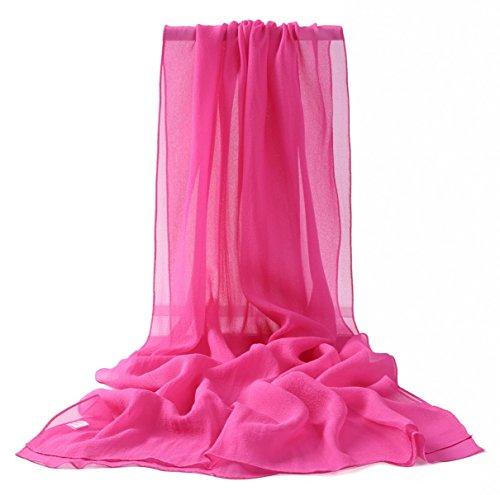 Prettystern - 176cm uni-farbe tinta unita semplice scialle in seta pura sciarpa - hot pink