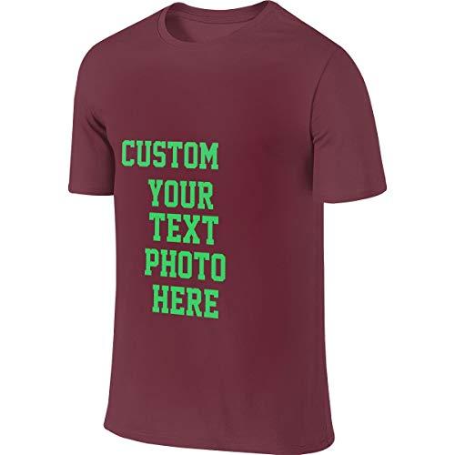 100% Baumwolle Herren T-Shirt Sommer Kurzarm T-Shirt - Anpassbares doppelseitiges T-Shirt(Burgundy 3XL) -