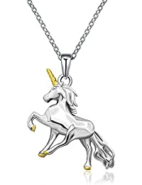 925 Sterling Silver Little Princess Unicorn Pendant Necklace Gifts for Girls