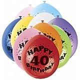 40th Happy Birthday Latex Balloons 10pk
