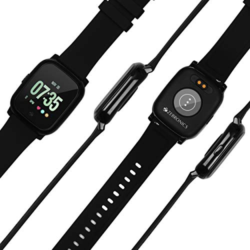 Zebronics Smart Fitness Band ZEB-FIT850CH with Color Display, Pedometer, Heart Rate Monitor, Brightness Adjustment, Wrist Sense, Music Control, Caller ID, SMS & Third-Party app Notifications (Black)