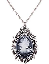 YAZILIND Yaizlind Collar pendiente de plata retro plateado diamante de imitación embutido Chica cadena para la Mujer