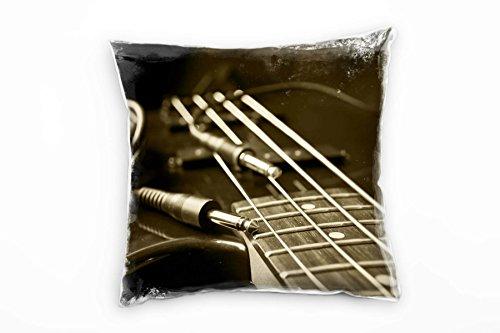 Paul Sinus Art Macro, Sepia, Gitarre, Gitarrenseiten Deko Kissen 40x40cm für Couch Sofa Lounge...