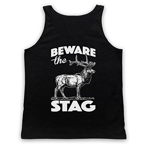 Beware The Stag Stag Do Slogan Tank-Top Weste Schwarz