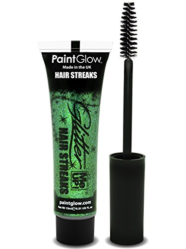 PaintGlow Green Glitter Me Up Hair Streaks 15ml Tube Green