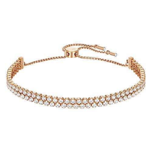 Swarovski Subtle Double Armband, weiss, rosé Vergoldung