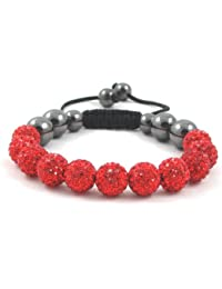 11-Ball Red Bead Shamballa Bracelet with no strings