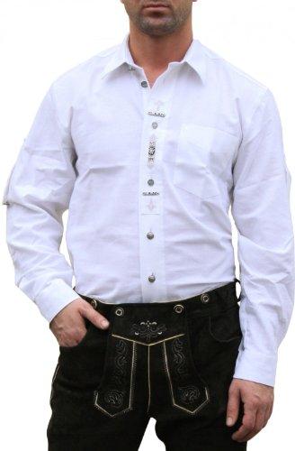 Trachtenhemd hemd für Lederhosen mit Verzierung weiß, Hemdgröße:3XL