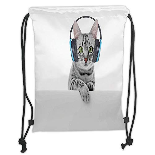 OQUYCZ Drawstring Sack Backpacks Bags,Music Decor,Cute Funny Short Hair Cat Listening Music with Headphones Creative Kitten Animal Art Decor,Grey White Soft Satin,5 Liter Capacity,Adjustable S - Shorts Womens Orange Compression